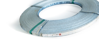 Steel strip coated with zinc for grounding